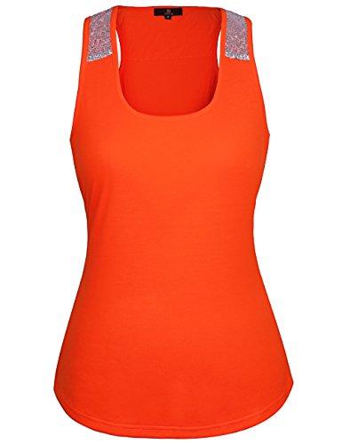 ISASSY - Camiseta sin mangas - Ajustada - Clásico - Sin mangas - para mujer naranja