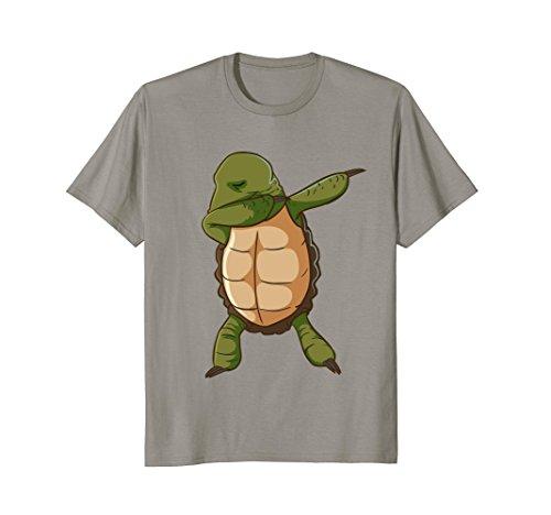 Mens Turtle Shirt Funny Dabbing Dance Tortoise TShirt Large Slate Tortoise Slate