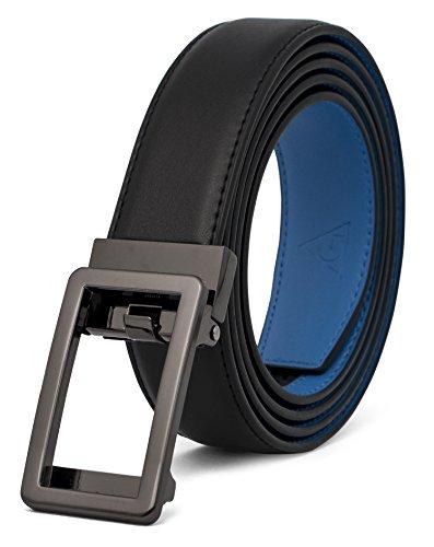 AOG DESIGN Two-Tone Leather Ratchet Belt Open Buckle - Spring Edition (Gunmetal - Black/Blue) - 2 Metal Belt