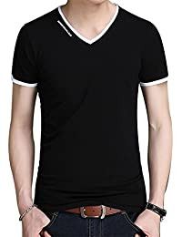 Men's Summer V-Neck Casual Slim Fit Short Sleeve T-Shirts Cotton Shirts