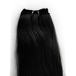 Kromé Hair Jet Black 18 Inches Bleach-Stitched Machine Weft 100% Pure Human Hair Extensions Get Beautiful, Healthy, Longer Hair Instantly With No Damage!