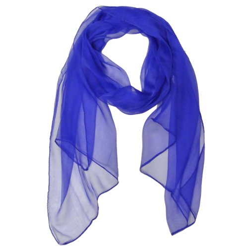 Wrapables Solid Color 100% Silk Long Scarf, Royal Blue (Daphne Costume)
