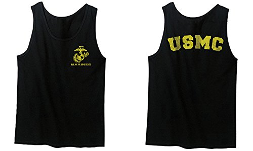 Marines Marine Corps USMC Logo Seal United States America USA American Men's Tank Top (Black, Medium) (Corps Top Marine Tank Men)