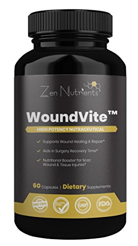 WoundVite Powerful Chronic Wound Care & Scar Reduction Product - Wound Healing Supplement - Scar Treatment - 100% Natural & GMO Free - 60 Caps