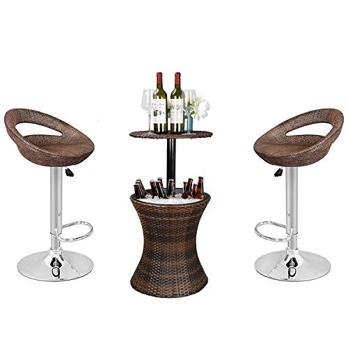 (Nova Microdermabrasion 3in1 Outdoor Patio Backyard - Adjustable Pub Swivel Barstool + Cooler Bar Table)