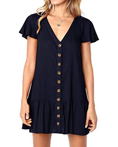(Imysty Womens Polka Dot V Neck Button Down Ruffles Loose Mini Short T-Shirt Dress (Small, Z1-Navy))