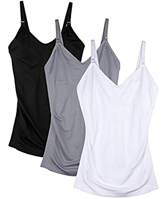 Daisity Womens Maternity Nursing Tank Cami for Breastfeeding with Adjustable Straps Pack of 3