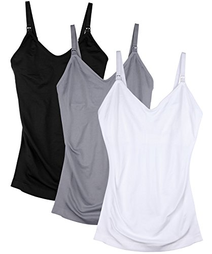 Daisity Womens Maternity Nursing Tank Cami for Breastfeeding with Adjustable Straps Pack of 3 Color Black Grey White Size S