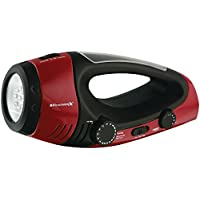 Weather X WF382R NOAA Weather Band and AM/FM Radio Flashlight/Lantern with Dynamo Hand Crank Power - Red/Black