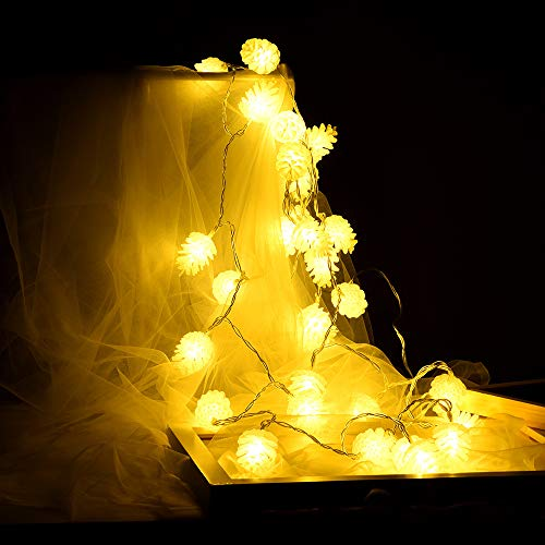Pinecone Light 3 Wide (Nufelans_String Light - 2/3M 20/30 Pinecone LED Battery Light Strings Indoor Decorative for Wedding/Party (3M 30LED))
