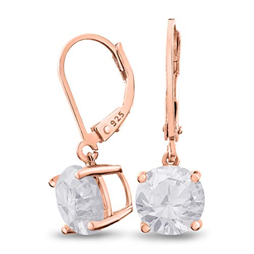 (Rose Gold Plated Sterling Silver Basket Setting 9mm Brilliant Round White CZ Leverback Dangle Earrings)