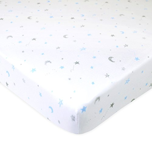 TL Care Fitted Portable/Mini-Crib Sheet 100% Natural Cotton Jersey, Blue Stars and Moon, Soft Breathable, for Boys and Girls