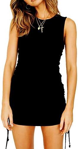 YIGC Women\u2019s Sleeveless Drawstring Bodycon Mini Dress Ruched Slim Fitting Tank Dress