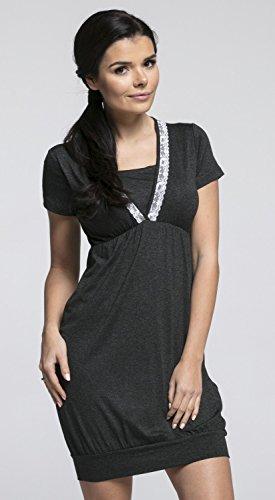Happy Mama. Damen Umstands-Nachthemd mit Stillfunktion. Kurzarm. 052p (Graphit Melange, EU 40, L)