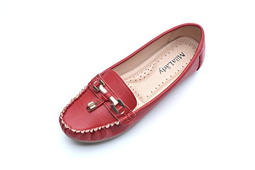 - Mila Lady Comfortable Causal Slip on Loafers Tassels Rhinestone Pearl Moccasin Driving Flat Shoes for Women, Allison RED Size 6.5