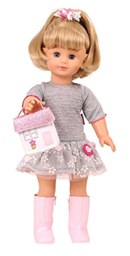 "Gotz Precious Day Jessica 18"" Soft Body Standing Doll with Blonde Hair to Wash & Style, Sleeping Blue Eyes, Grey Dress, Pink Boots & Fashion Bag"