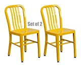 Classic Industrial Style Metal Frame School Restaurant Dining Chair Indoor Outdoor Furniture Yellow #1058