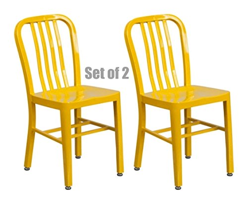 Classic Industrial Style Metal Frame School Restaurant Dining Chair Indoor Outdoor Furniture Yellow #1058 by Koonlert@shop