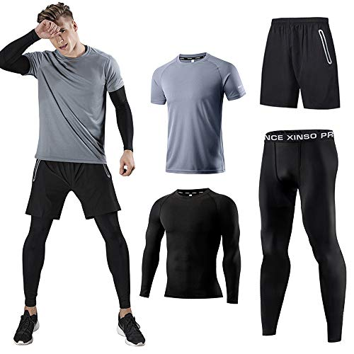 b155d9ba3a Holure Men's (Pack of 4) Athletic Shirt Compression Pants Shorts Gym Suits  Gray M