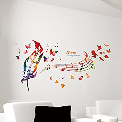 Amazon Com Ljlq Colorful Feather Music Notes Butterfly Wall