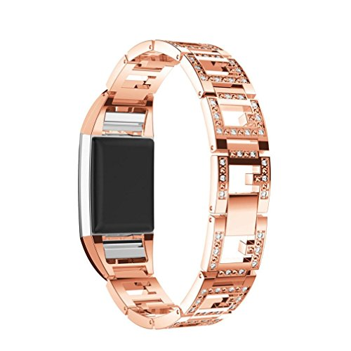 for Fitbit Charge 2 Bands, Forthery Replacement Metal Adjustable Bracelet Bands for Fitbit Charge 2 Smart Watch (Rose Gold)