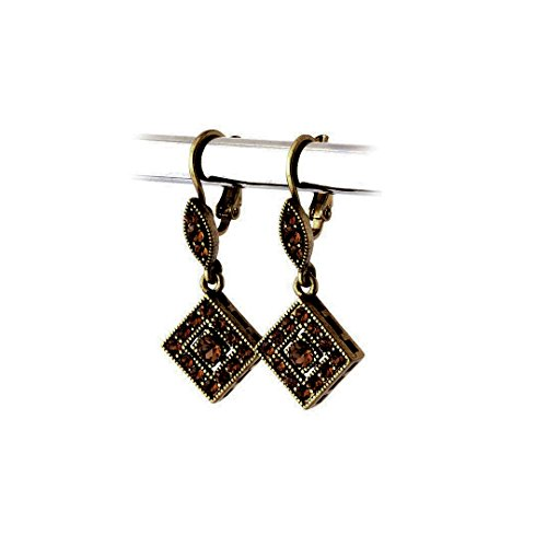 Crystal Ring Deco (Antiqued Dark Gold-on-Gold Austrian Crystal Leverback Earrings)