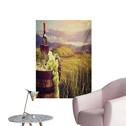 (Anzhutwelve Wine Photographic Wallpaper Italy Tuscany Landscape Rural Vineyard Autumn Harvest Grapes Drink ViticultureGreen Black Brown W24 xL36 Space Poster)