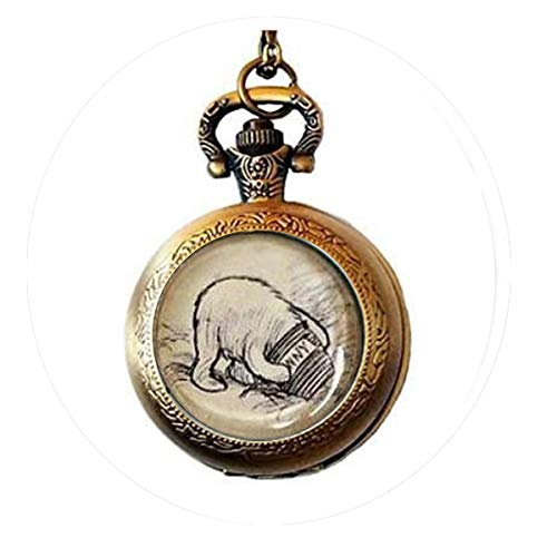 asd His Honey Pot. Silver or Bronze Necklace. Vintage Pooh Pocket Watch Necklace Bible Quote Pendant -Religious Jewelry