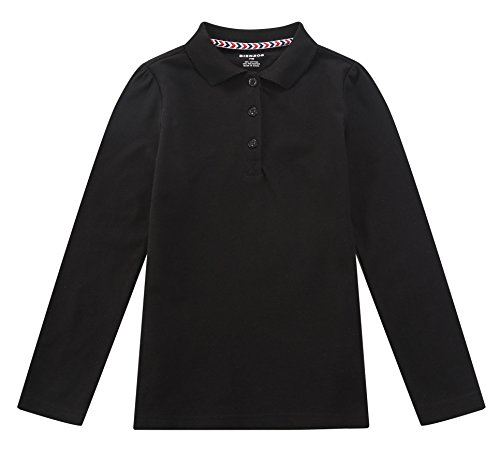 (Bienzoe Girl's Antimicrobial Breathable Quick Dry Long Sleeve Polo Black 10/12)