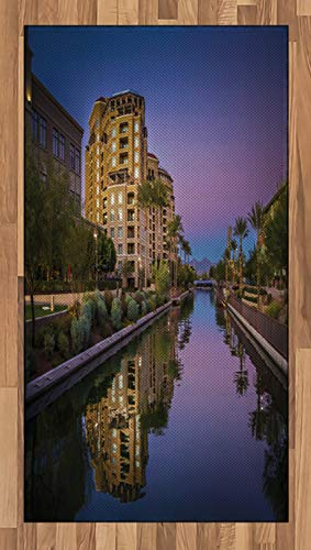 Ambesonne Arizona Area Rug, Beautiful Photo of Az Canal in Scottsdale at Sunset with Downtown Architecture, Flat Woven Accent Rug for Living Room Bedroom Dining Room, 2.6 x 5 FT, Multicolor (Scottsdale Furniture Az)