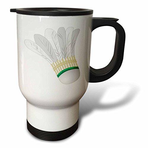 3dRose Big White Badminton Shuttlecock Travel Mug, 14-Ounce, Stainless Steel
