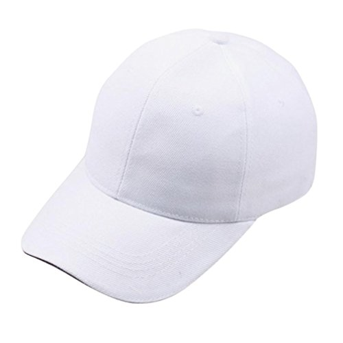 Price comparison product image Hmlai Snapback Caps,  Unisex Classic Cotton Hat Adjustable Plain Cap Hip-Hop Hat Baseball Cap for Men and Women (White)