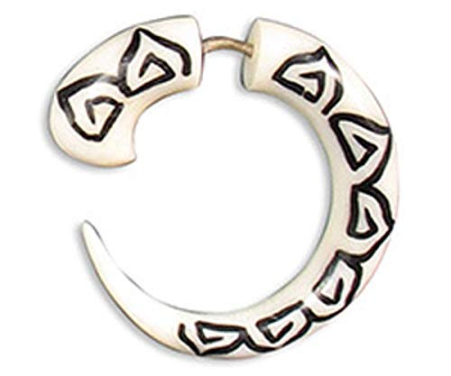 - Cocoroots Unisex Horn or Bone Round Hook Fake Gauge Tunnel Ear Plug Lotus Inlay with Silver Bar