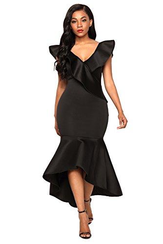 Whoinshop Damen Ladies Vneck Bodycon Mermaid Kleid Festive Ruffle ...