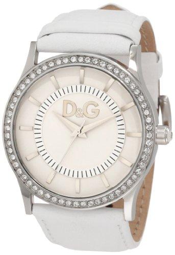 D&G Dolce & Gabbana Women's DW0518 Gloria White Dial Stone Bezel & White Strap Watch