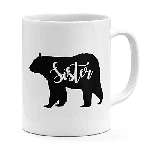 Hilarious Costume Ideas College (Sister bear mug gift for sister bear family mug bear silhouette mug ceramic mug 11oz – 15oz coffee mug novelty mug cozy coco mug best sister mug)