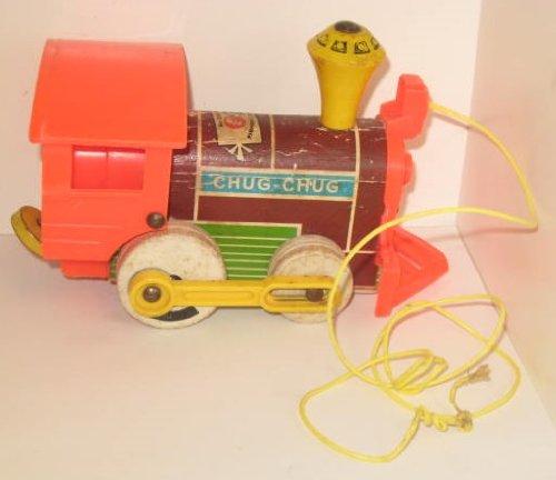 (1964 Vintage Fisher Price Chug Chug Train Engine Wooden Pull Toy)