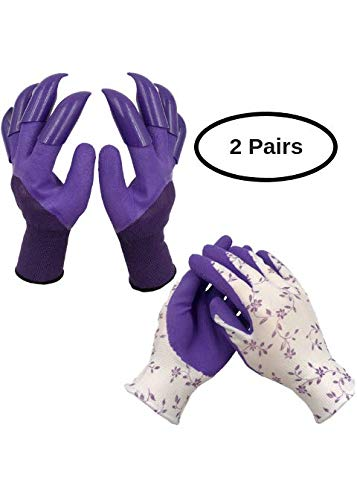 Gardening Working Gloves Women (2 pairs) For Digging and Planting, Comfortable, Breathable, Rubber Coated for Protection - Best Gift for Gardeners ()