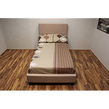 Amazon Com Malko Upholstered Light Beige Cloth Platform