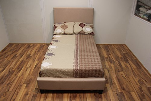 Malko Upholstered Light Beige Cloth Platform Bed with Wooden