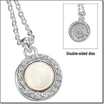 Avon Faux Necklace (Avon Celinda Reversible Pendant Necklace Silvertone Rhinestones White Circle)