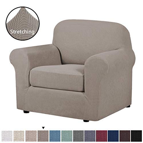 Stretch Chair Slipcovers Sofa Covers 2 Pieces Furniture Protector Rich Textured Lycra High Spandex Small Checks Knitted Jacquard Sofa Cover Chair Covers for Living Room (Chair-1 Seater, Taupe) (Sofas Living Chairs Room And)