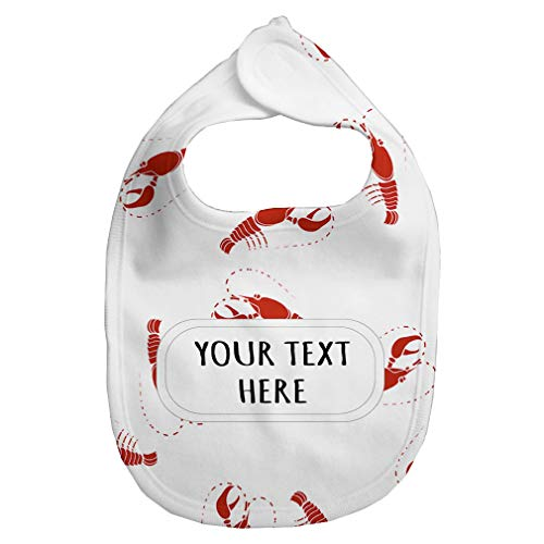 Baby Fleece Bib Custom Red Lobsters Seemless Pattern