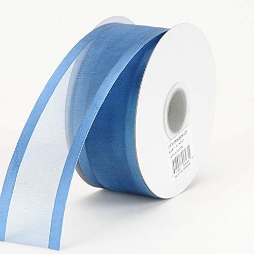Fuzzy Fabric Two Striped Satin Edge Organza Ribbon, Smoke Blue - (W: 1-1/2 Inch   L: 100 Yards)