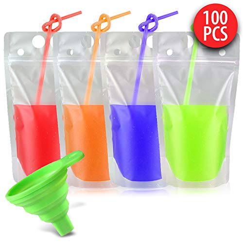 100 pcs Heavy Duty Zipper Clear Plastic Hand-held Drink Pouches Smoothie Bags with 100 Straws & Funnel Included Transparent, Frosted, Re-Sealable Stand Up Drinking Bags 2.4Bottom Gusset, BPA Free