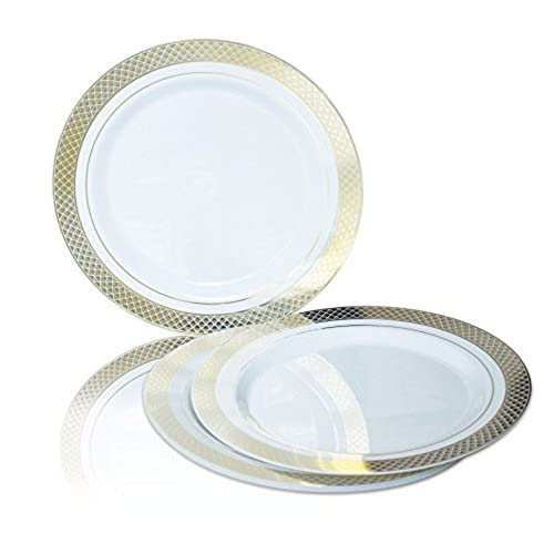 OCCASIONS 120 PACK Heavyweight Disposable Wedding Party Plastic Plates (10.5u0027u0027 Dinner Plate Celebration White/Gold)  sc 1 st  Amazon.com : plastic plate chargers in bulk - Pezcame.Com