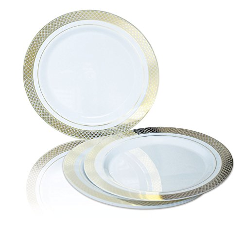 """"""" OCCASIONS """" 120 PACK, Heavyweight Disposable Wedding Party Plastic Plates (10.5'' Dinner Plate, Celebration White / Gold)"""