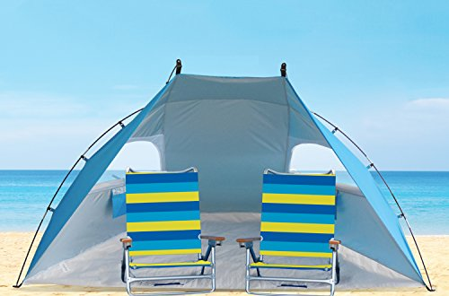 9ft Wide Extra RoomyEasy Set Up Portable Sun Shelter Family Beach Tent C&ing Shelter with Sun Protection SPF/UPF50+. Blue  sc 1 st  Summer Products Store & 9ft Wide Extra RoomyEasy Set Up Portable Sun Shelter Family Beach ...