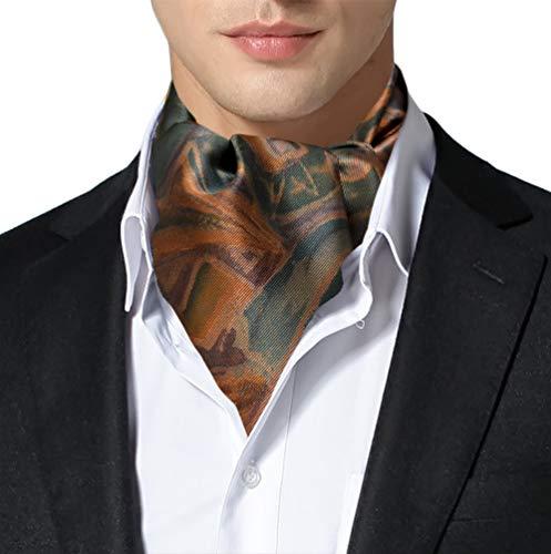 Silk Pleated Necktie (Remo Sartori Made in Italy Men's Multicolor Abstract Pattern Self Cravat Ascot Tie, Silk (Orange))