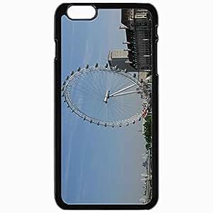 Unique Design Fashion Protective Back Cover For iPhone 6 Plus Case Slim (5.5 inch) Ferris Wheel Sky Buildings Black